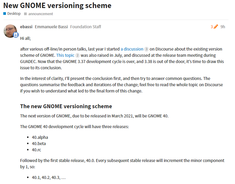 GNOME 采用新的版本控制方案,下一个版本 GNOME 40
