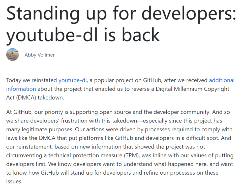 EFF 干预后,GitHub 恢复了 youtube-dl 库