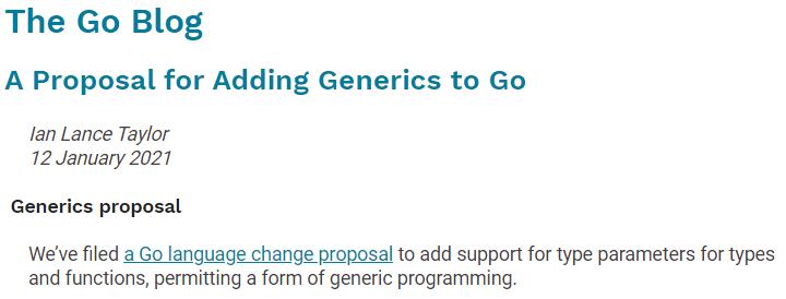 Go 泛型提案已提交,Go 1.18 beta 有望试用