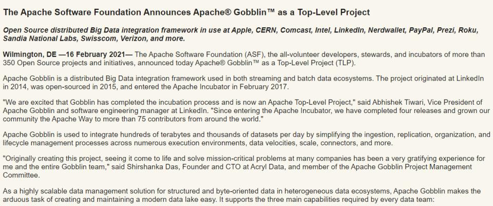 Apache Gobblin 成为 ASF 顶级项目