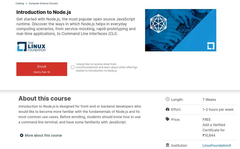 Linux 基金会免费提供 Node.js 在线课程