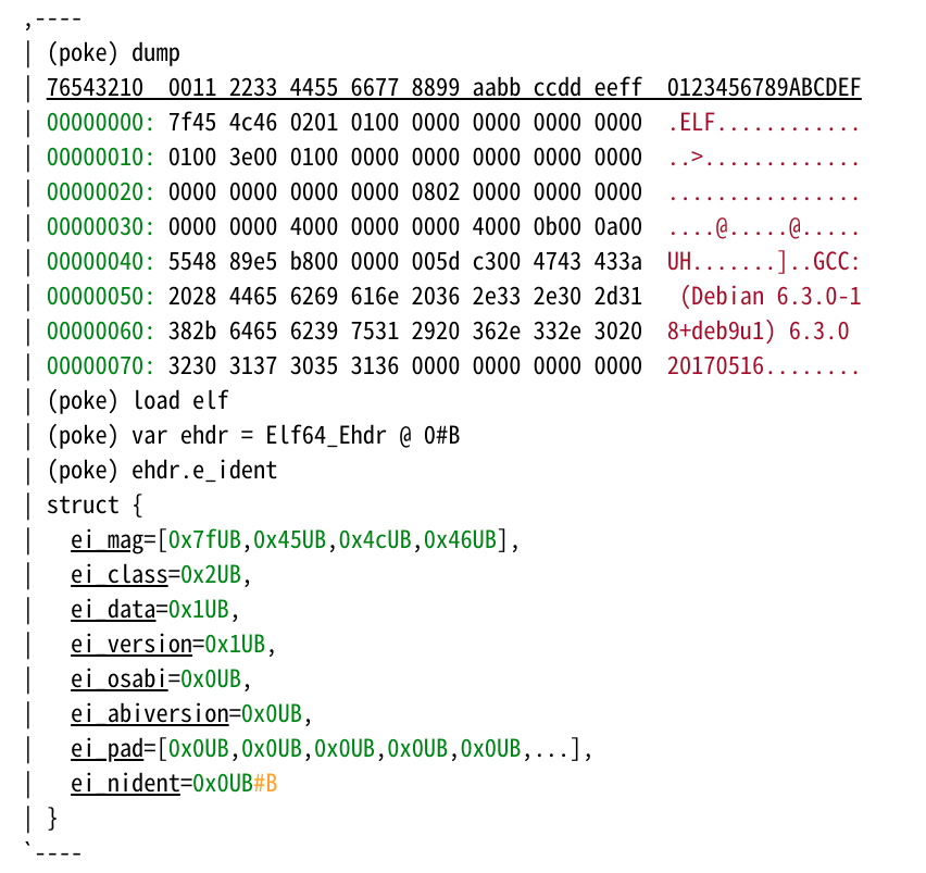 可扩展的结构化二进制数据编辑器 GNU poke