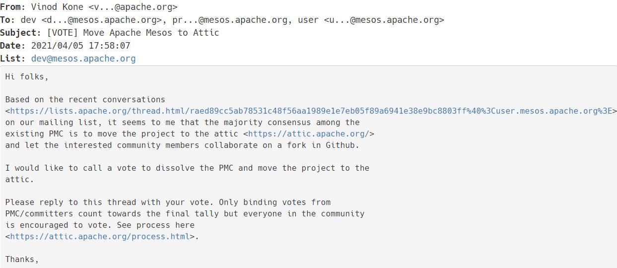 Apache Mesos 正在投票讨论是否退役