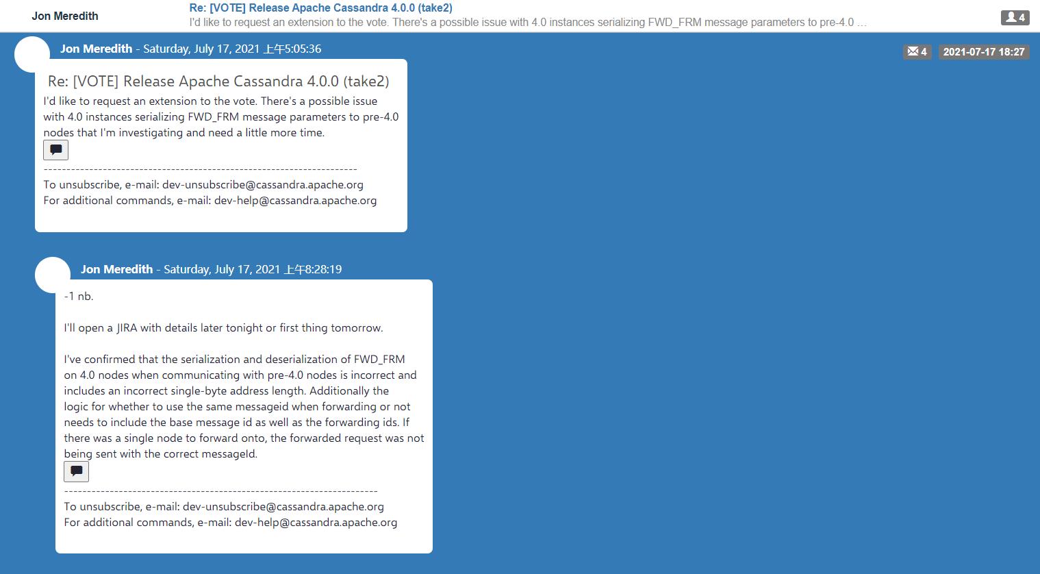 临近发版报告 bug,Cassandra 4.0 被推迟发布