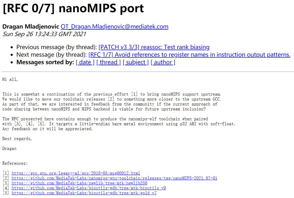 联发科计划为 nanoMIPS 带来上游 GCC 编译器支持